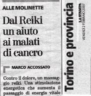 Articolo del giornale reiki in ospedale le molinette di torino per il cancro